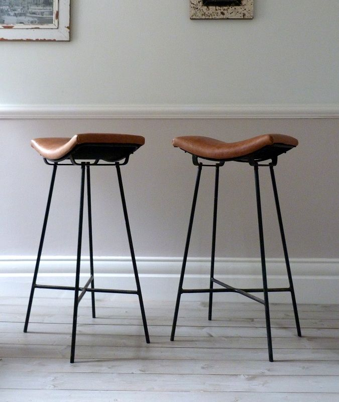 6b769bc080b Wood And Metal Industrial Counter Stools. Saddle Stool Leather