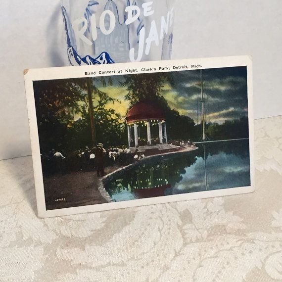 Vintage Paper Photography Postcard Band Concert at Night