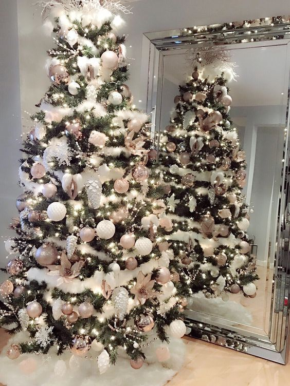 Photo of 36 Rose und Gold Weihnachtsbaum Dekorationsideen 2018 – #Wei