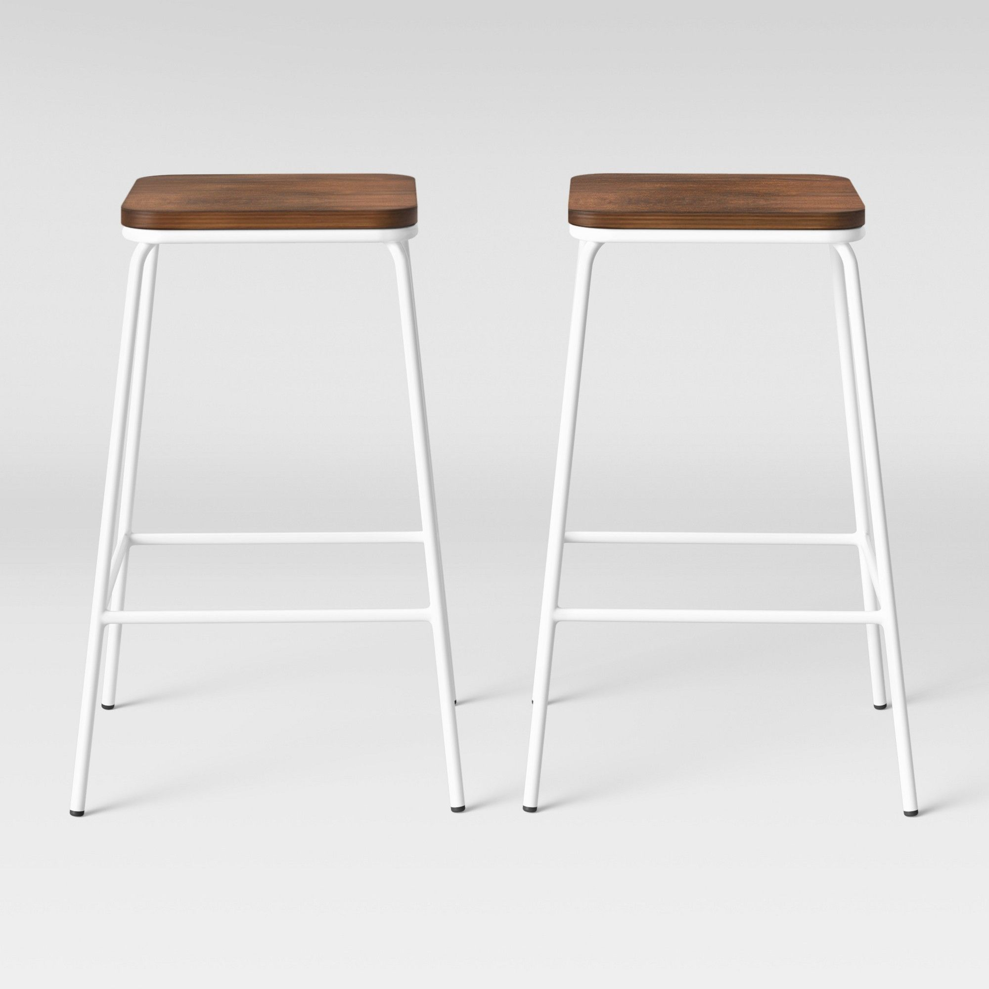 Set Of 2 Rhodes Metal Wood Counter Stool White Project 62 Wood