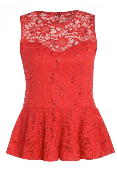 Red Floral Lace Design Sequin Peplum Top - http://www.justcurvy.com/shop/whats-new/red-floral-lace-design-sequin-peplum-top-