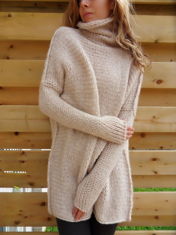 a33a07881 Chunky knit woman sweater. Slouchy Bulky Loose fit sweater. Creamy ...