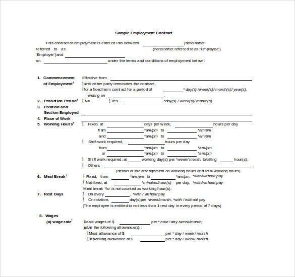 Sample Employee Contract Template Doc   Simple Contract Template