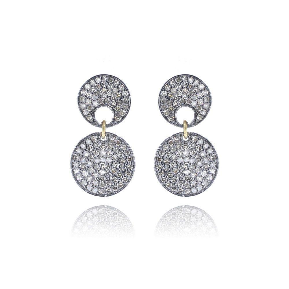 Pave Diamond Round/Disc Earrings With 14k Yellow Gold Fine Sterling Silver Women Wear Dangling Earrings Jewelry VDJER-7004(60x20 mm) by VintageDiamondJewels on Etsy