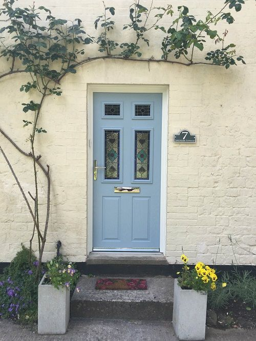 New Windows - Warminster Beautiful Cotswold blue composite door with Dorchester blue glass design. Chrome & New Windows - Warminster Beautiful Cotswold blue composite door with ...