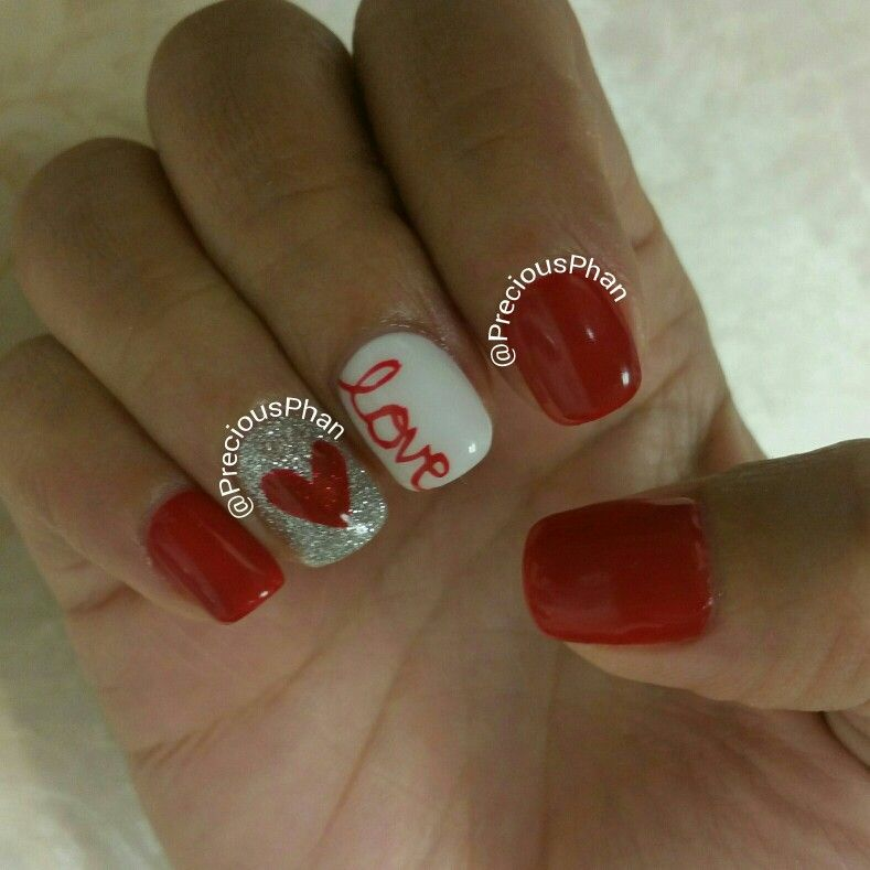 Love Nail Art: Love Nails. Valentines Day Nails #PreciousPhanNails