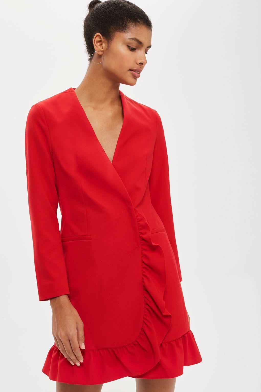Red Frill Hem Blazer Wrap Dress Topshop Wrap Over Dress Red Blazer Dress Dresses