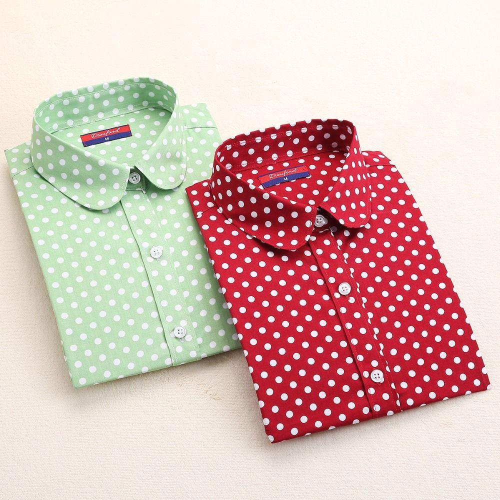 Neue marke polka dot shirt frauen langarm bluse baumwolle plus größe