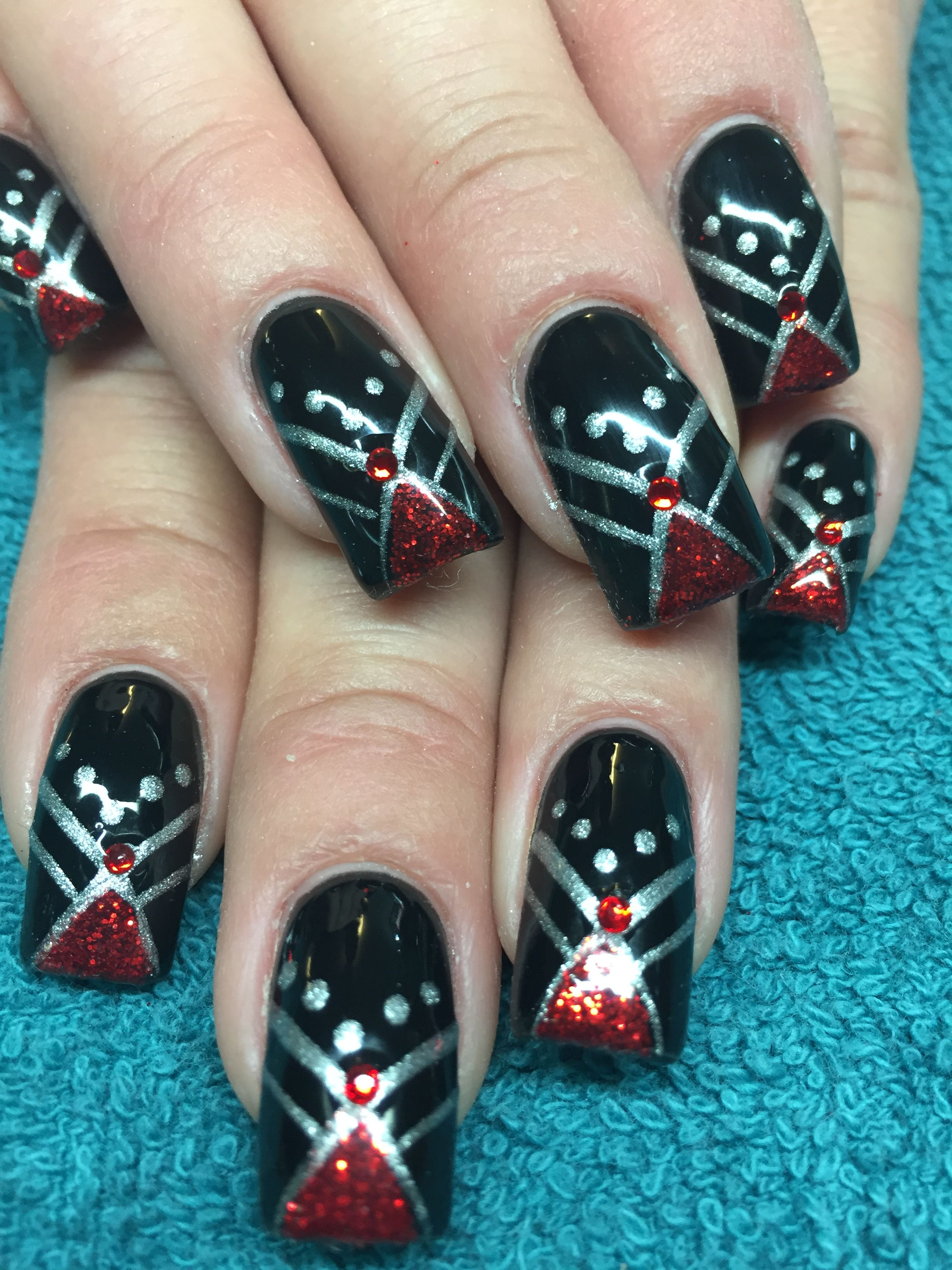 Red Black And Silver Nails Nail Art Nails Ive Done