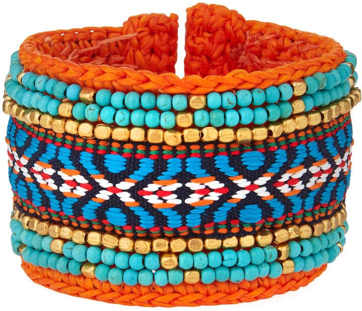 Panacea Multicolor Tribal Cuff Bracelet, Orange