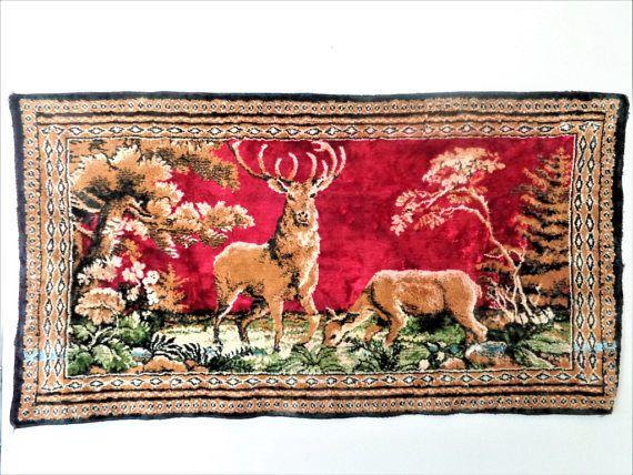 Vintage Velvet Deer Tapestry Italian Velvet Wall Hanging Tapestry Vintage Velvet Handwoven Rugs