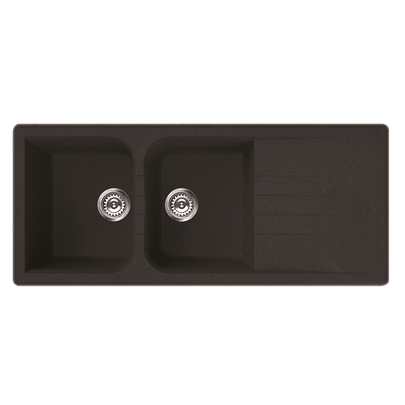 Mondella Black Vivace Drop In Sink Double Bowl with Drainer ...