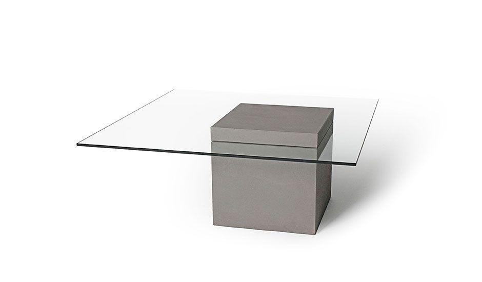 Cement   Glas Couchtisch mit Glasplatte Concrete Design