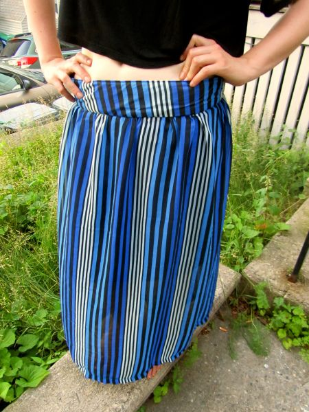 Striped Chiffon maxi skirt, self drafted pattern