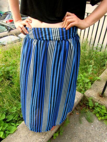 Striped Chiffon maxi skirt, self drafted pattern