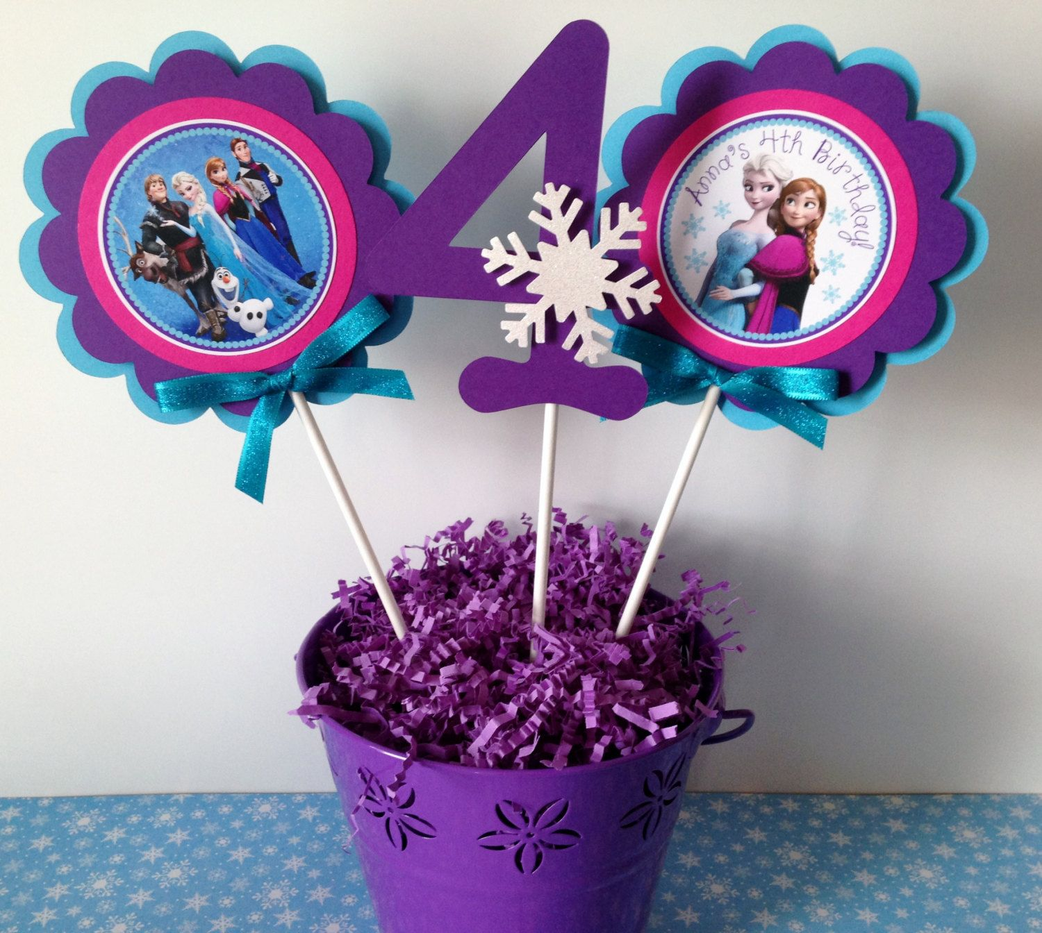 3 Frozen Birthday Party Centerpiece Sticks By Sweetheartparty 10 00