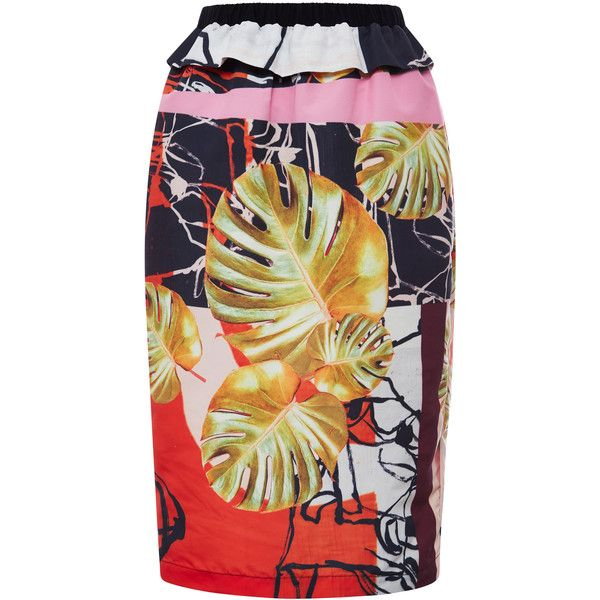 This modern poplin Clover Canyon pencil skirt is rendered in an abstract foliage print and features an elastic high waist with ruffle detail and a split at the…