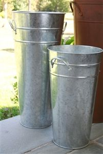 Galvanized French Flower Bucket Umbrella Stand Tall Metal Florist Containers Flower Bucket French Flowers Floral Container