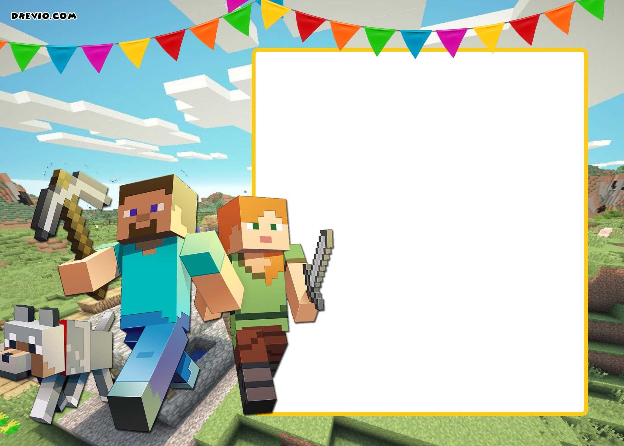 Free Printable Minecraft Birthday Invitation Template Update Minecraft Birthday Card Minecraft Birthday Invitations Minecraft Party Invitations