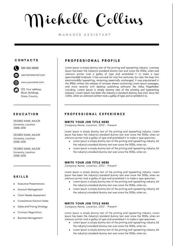 Michelle Modern Resume Template \/ CV Template + Cover Letter - cv words