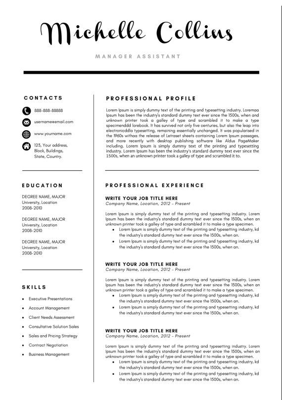 Michelle Modern Resume Template \/ CV Template + Cover Letter - standard font size for resume