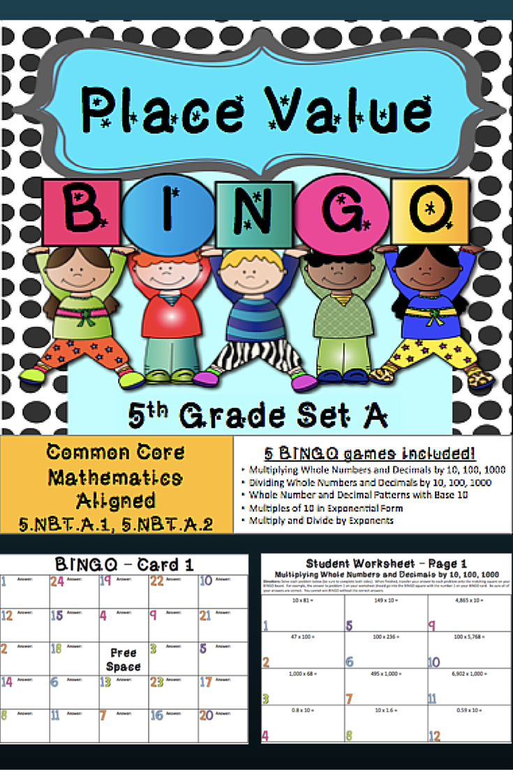This Place Value Bingo game gives you 5 different bingo games to ...