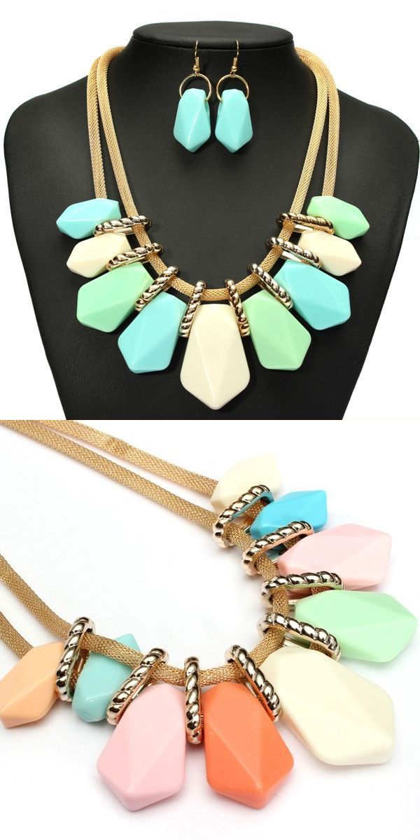 Vintage candy color geometric stone necklace earrings jewelry set