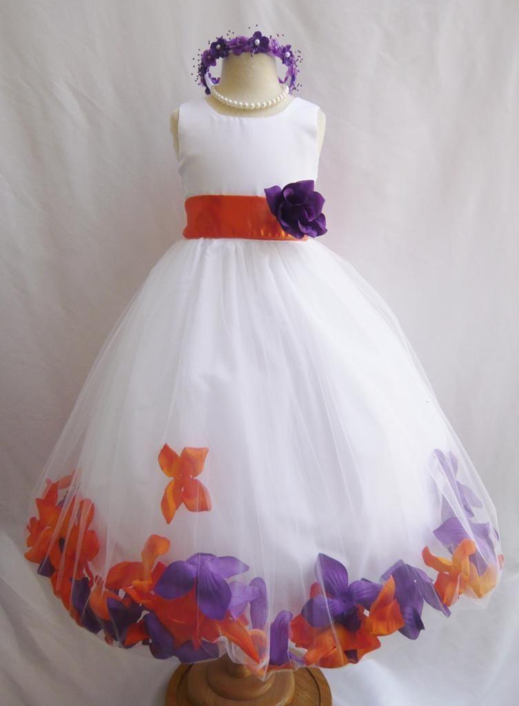 Flower girl dress rose petal dress for White and orange wedding dress
