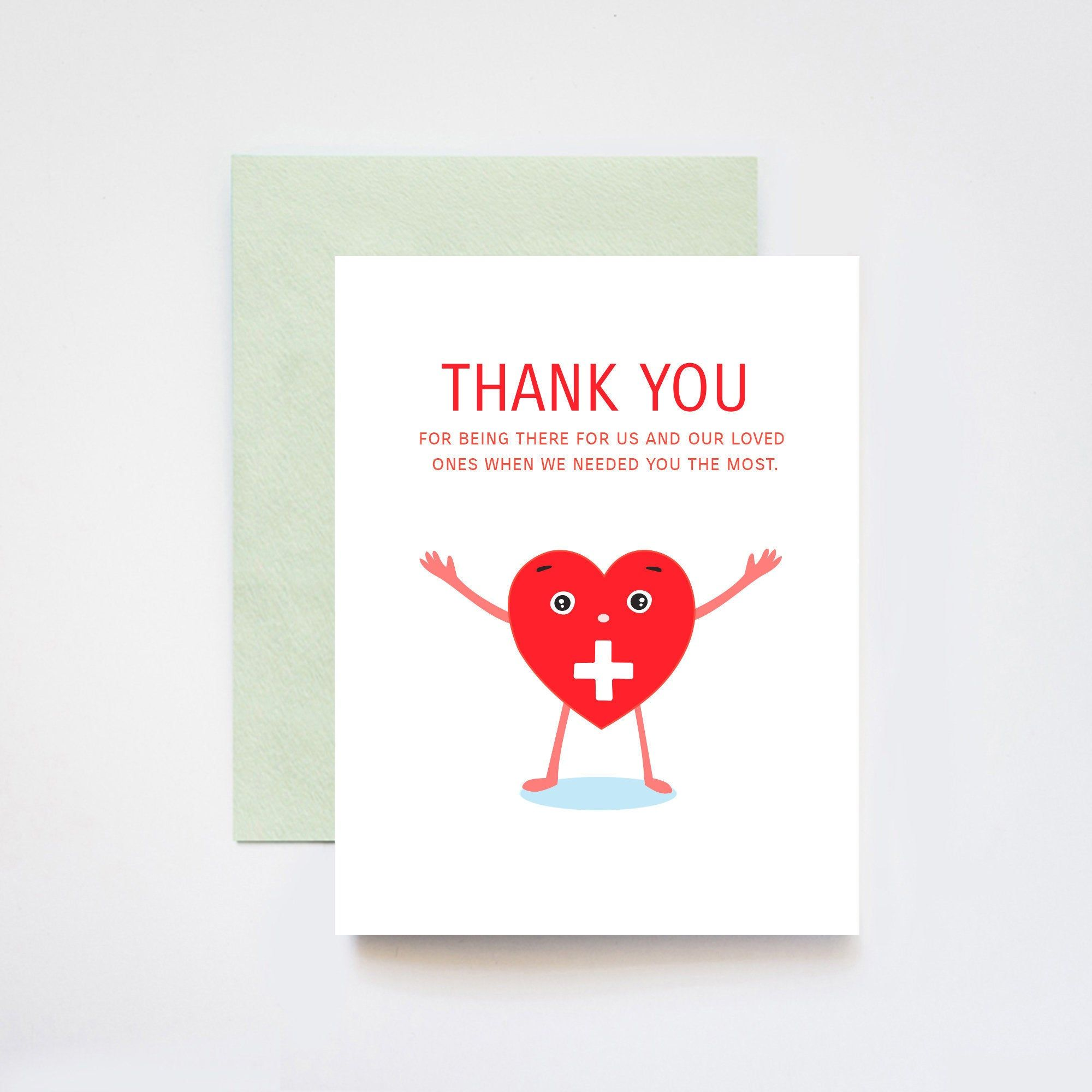 Healthcare Workers Doctors Nurses Frontline Workers Heartfelt Thank You A2 Greeting Card Mint Envelopes Folded Cards Cards