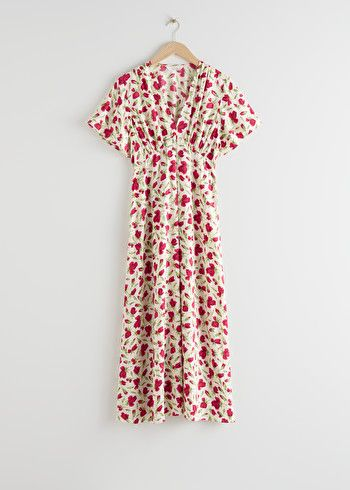 Deep V-Neck Midi Dress