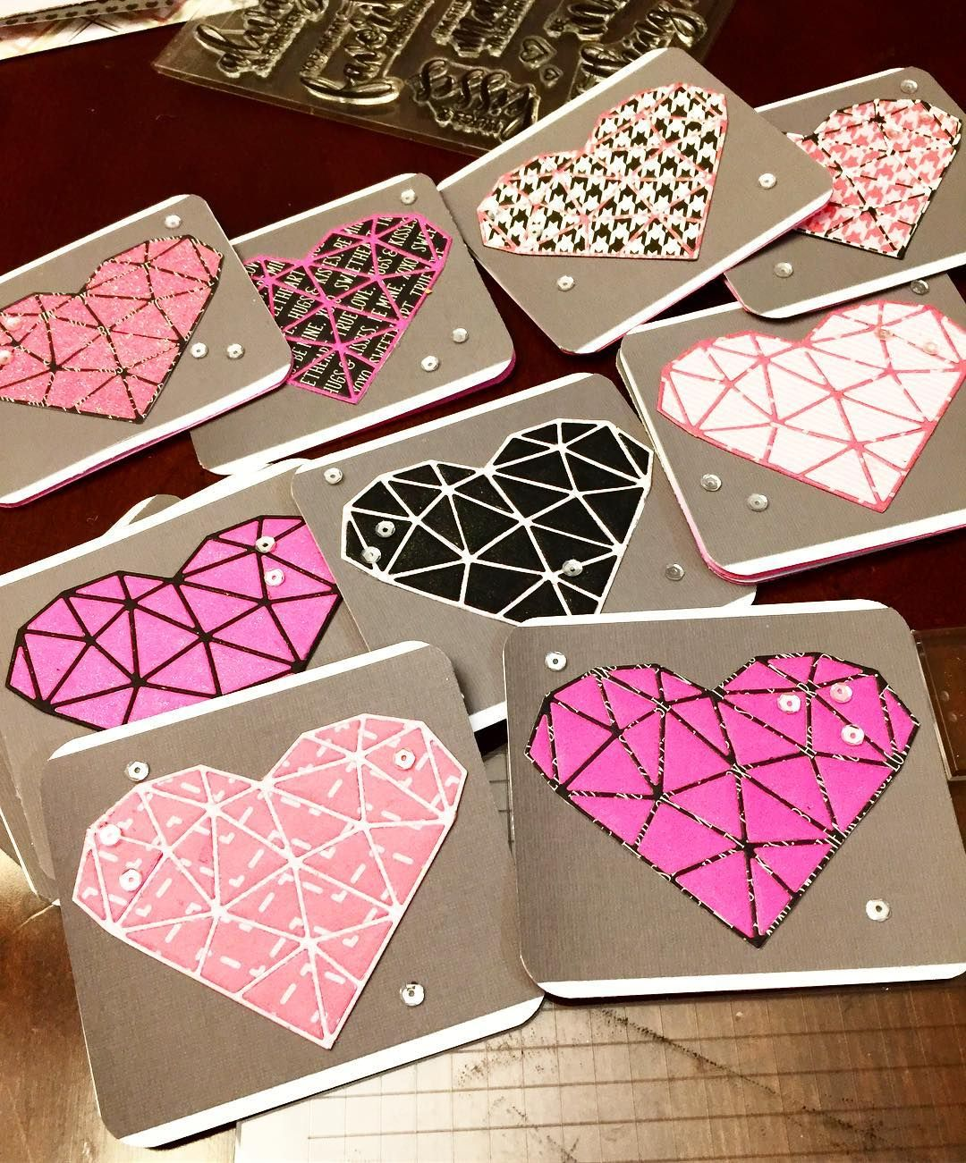 My weekend consists of making 23 handmade Valentine's Day Cards for a special 6 year old. We are die cutting different patterned papers and inlaying them back together! #craftersofinsta #craftersofig #craftersofinstagram #crafters #craft #crafty #crafts #diecuts #diecutcrazy #diecutting #patternedpaper #prettypinkposh #sequins