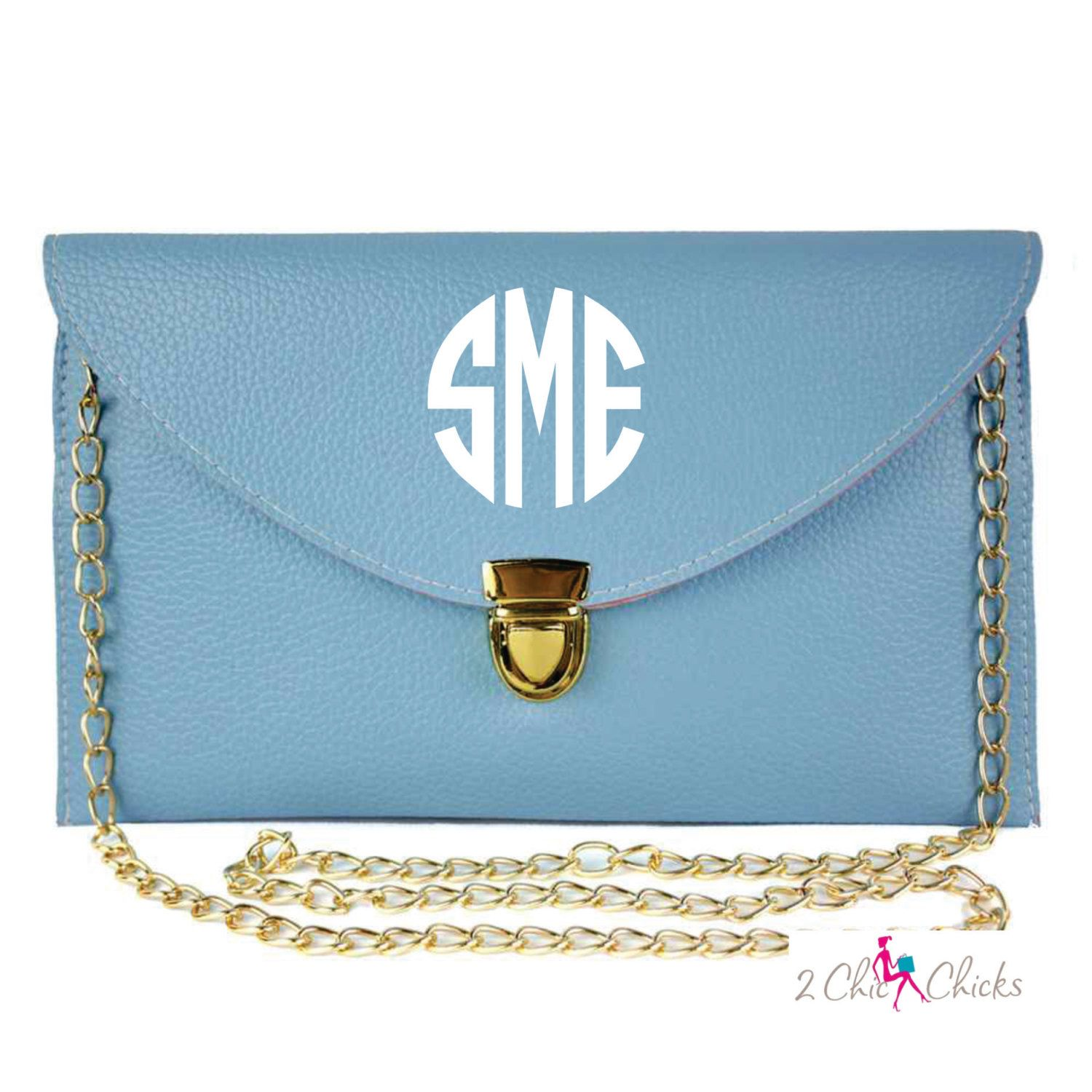 Monogram Envelope Purse Clutch Bridesmaids Gift Wristlet