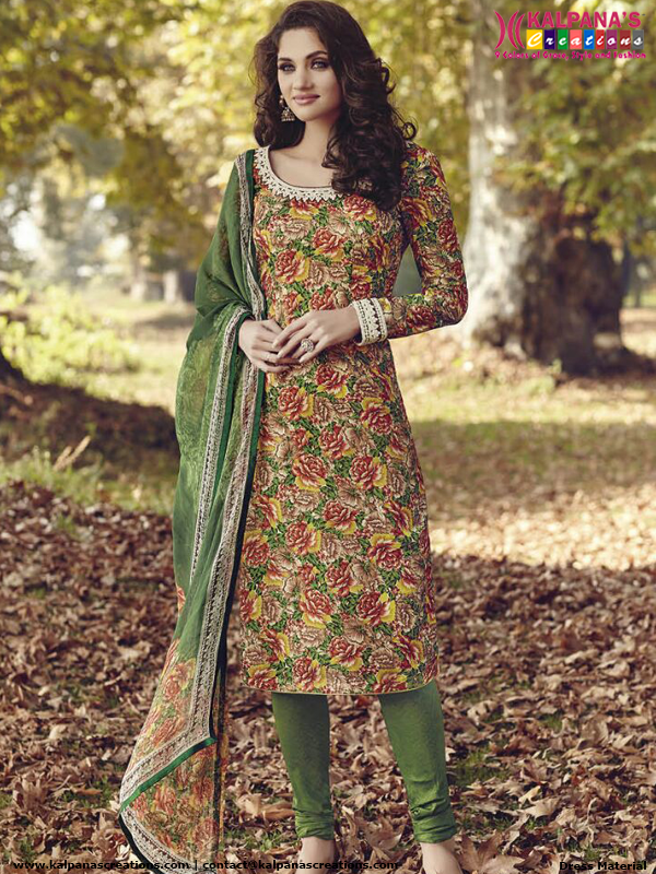 dce57cc034 Green Unstitched Designer Printed Churidar Dress Material | Tusser ...