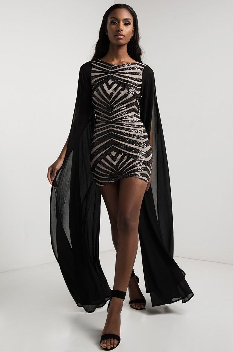 High neck super long sleeve sequin chevron mini dress in black black