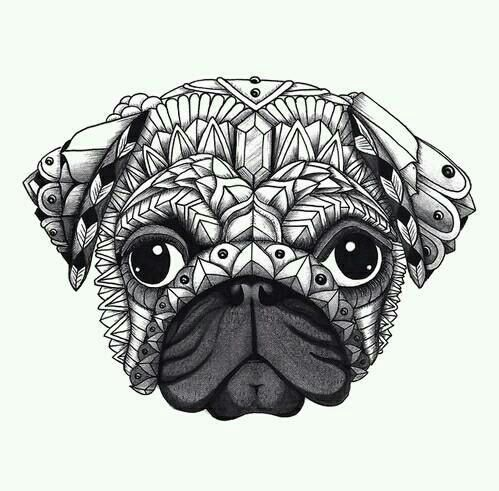 zentangle pug coloriages originaux chien coloriage. Black Bedroom Furniture Sets. Home Design Ideas