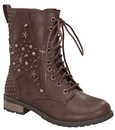 Brown Women Combat Boot With Studded Shaft