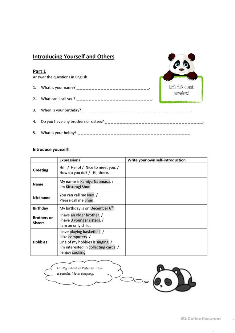 Introducing Yourself And Others Worksheet Free Esl Printable Worksheets Made By Teachers How To Introduce Yourself Teaching Jobs Writing Skills