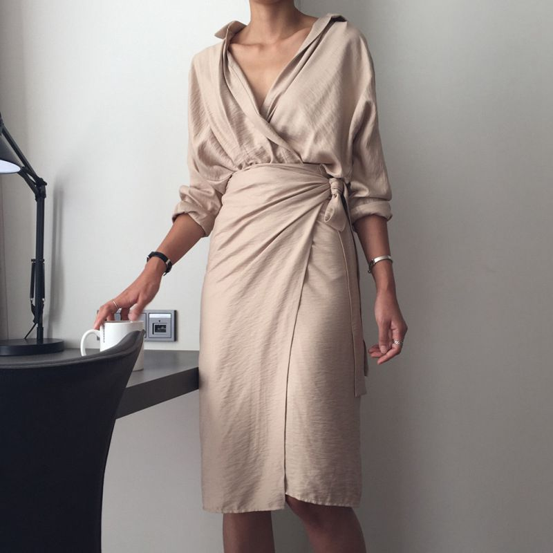 4d74a94672987 2018 spring summer khaki beige sexy vintage Cotton and Linen shirt ...