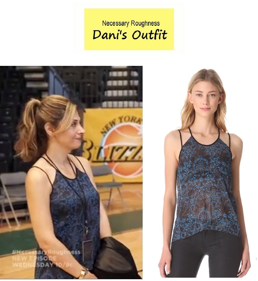 """On the blog: Dani Santino's (Callie Thorne) blue print cutout tank 