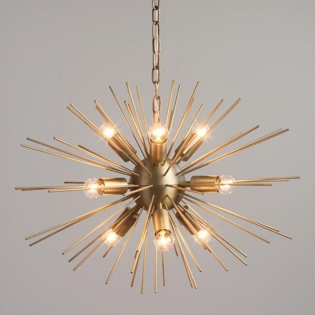 Brass starburst collin chandelier world market · dining room