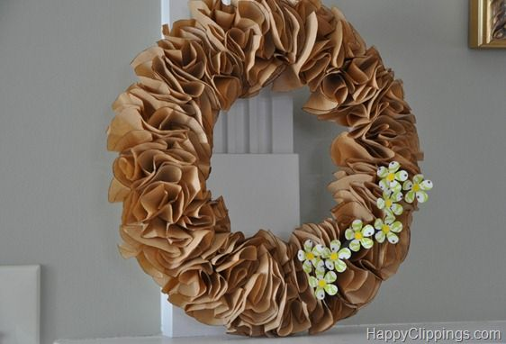 I have a massive roll of craft paper so a version of this will be tried.  I like the way that it looks like fall leaves.