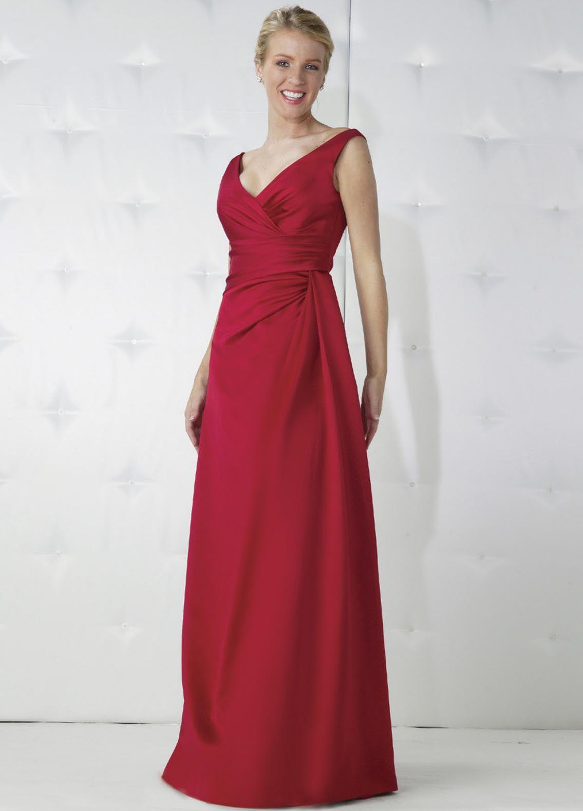 Long satin bridesmaids dresses red vneck draped satin long