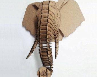 Cabeza de ciervo cabeza 3d puzzle animal por dreamlightforyou mascaras cart n elefantes y - Cabeza ciervo carton ...