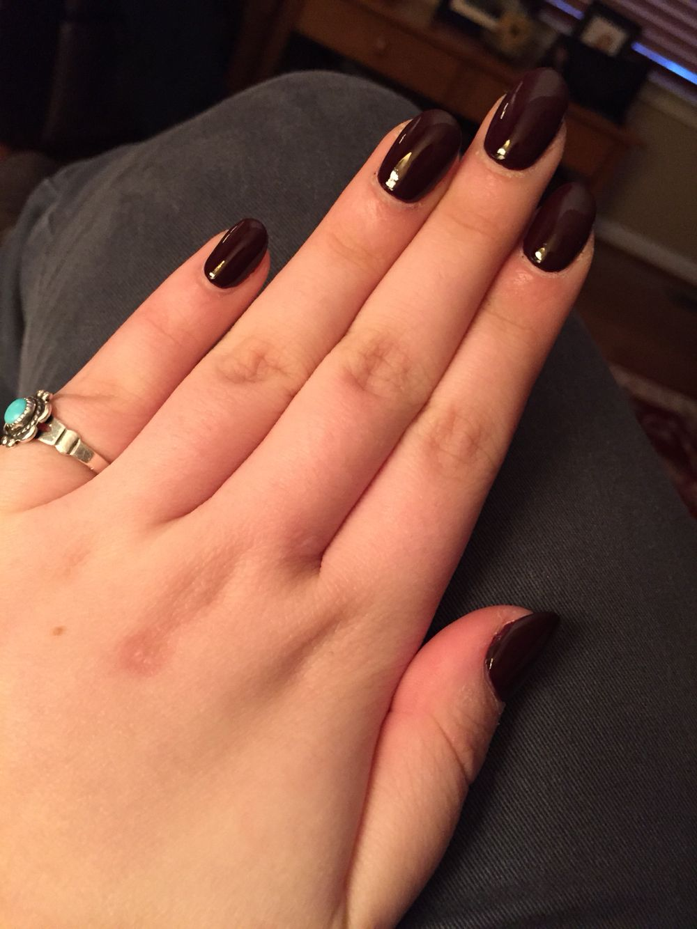 Dark Purple Rounded Acrylic Nails I Am In Love With My Nails Nagels