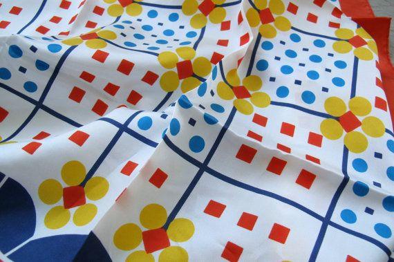 Mod flower patterned scarf / primary colour by SandrasCornerStore, $16.50