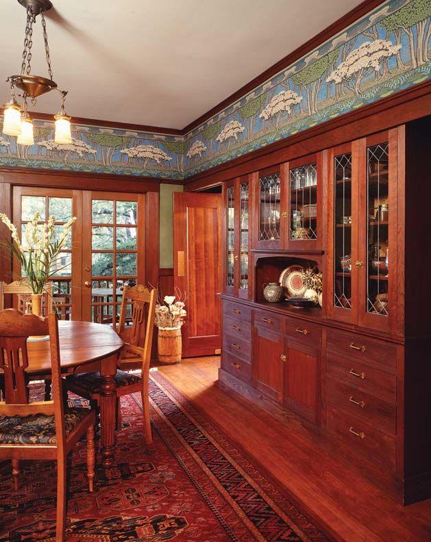 Arts And Crafts Wallpaper Craftsman Dining Room Craftsman