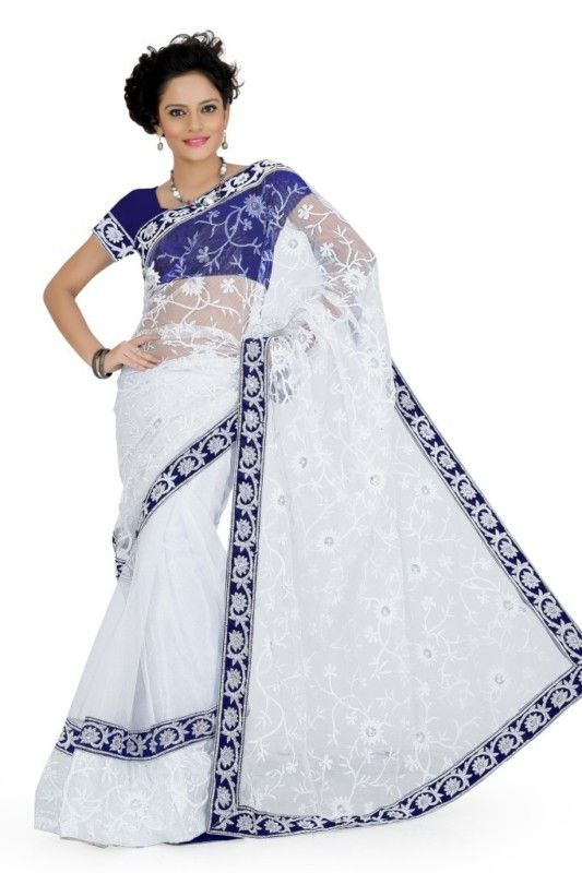 Dazzling White Net Designer Saree Indian Bollywood Wedding Wear Sari