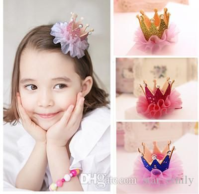 Girl Hair Clips Childrens Accessories Kid Princess Flower Hair Bows 2018 Korean Crown Barrettes Baby Hair Accessories Girls Hairbows #babyhairaccessories
