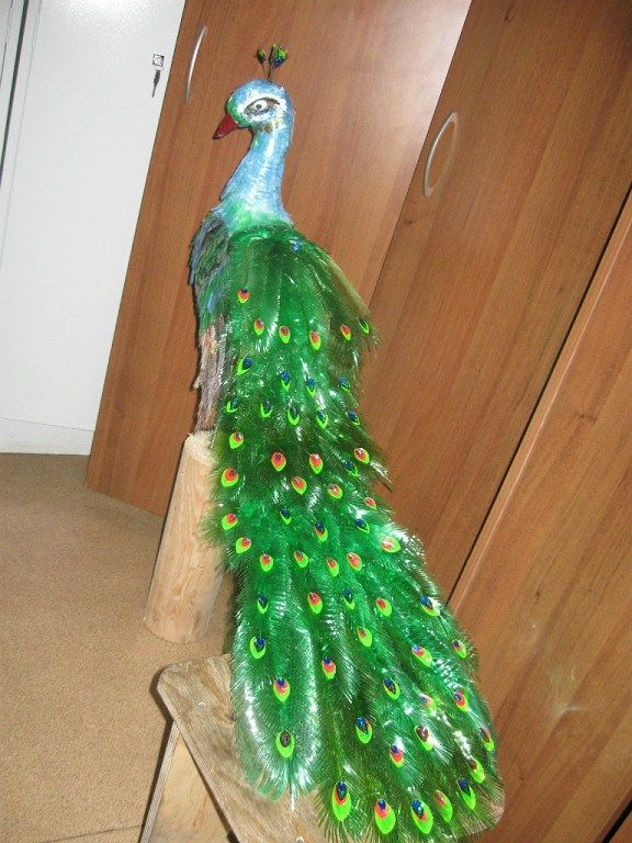 How to make beautiful peacock design with waste plastic for Art made from plastic bottles