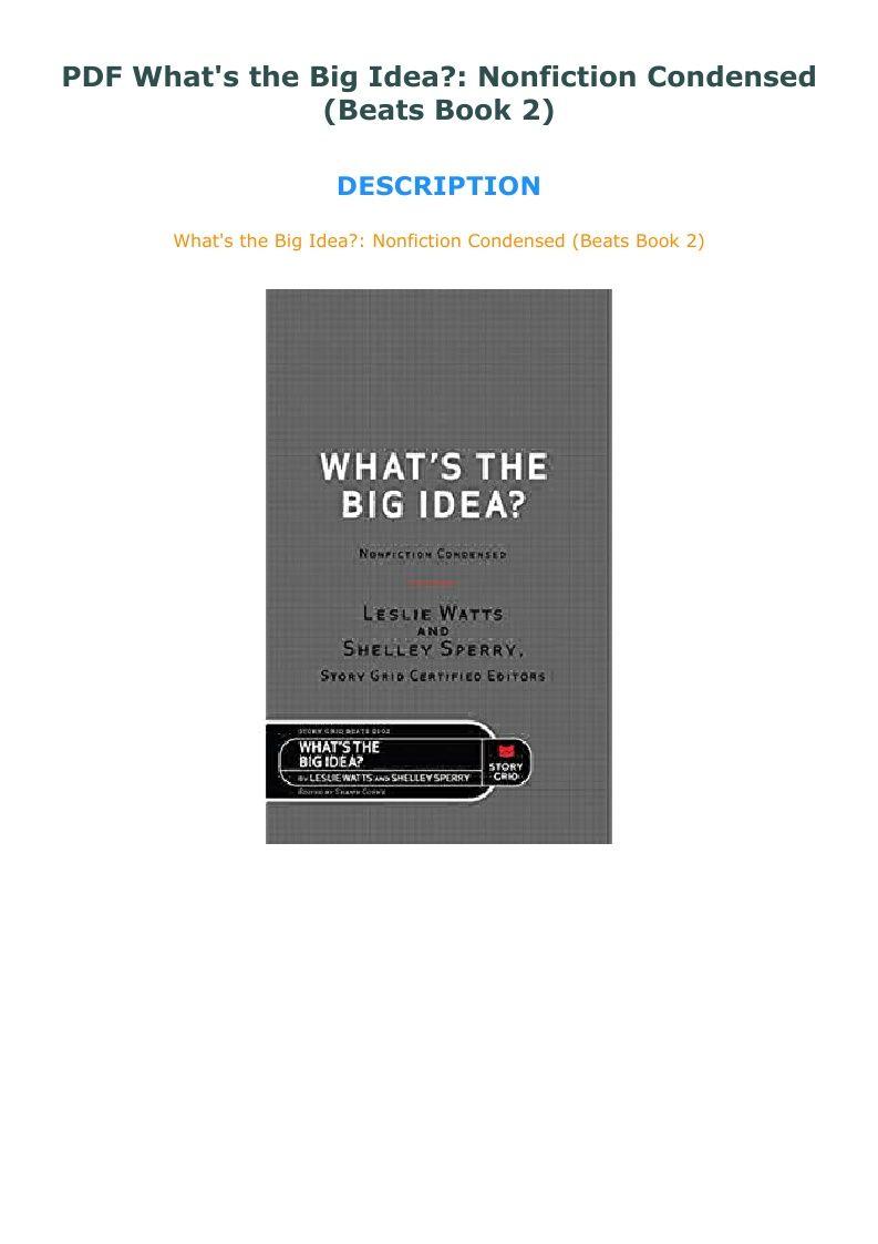 Pdf What S The Big Idea Nonfiction Condensed Beats Book 2 What S The Big Idea Nonfiction Books